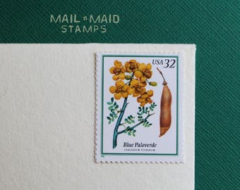 Flowering Trees - Blue Paloverde     Set of 5 unused vintage postage stamps
