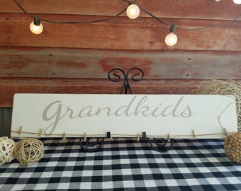 Grandkids Wood Sign. Wood Sign. Wall Decor. Hand Painted. Rustic. Grandparent sign.