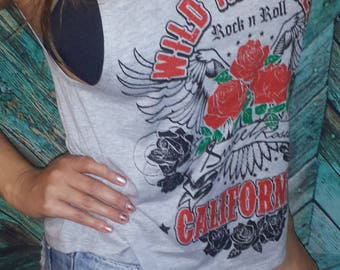 Wild and Free Roses Rock n Roll Patriotic Country Tank Top Crop California Sexy Tee Shirt America Music Festival South Tattoo Crop Workout