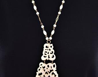 "Vintage Geometric Asian Pendant Statement Necklace Off White Tassel Fringe Boho Retro Costume Estate Jewelry 25"""
