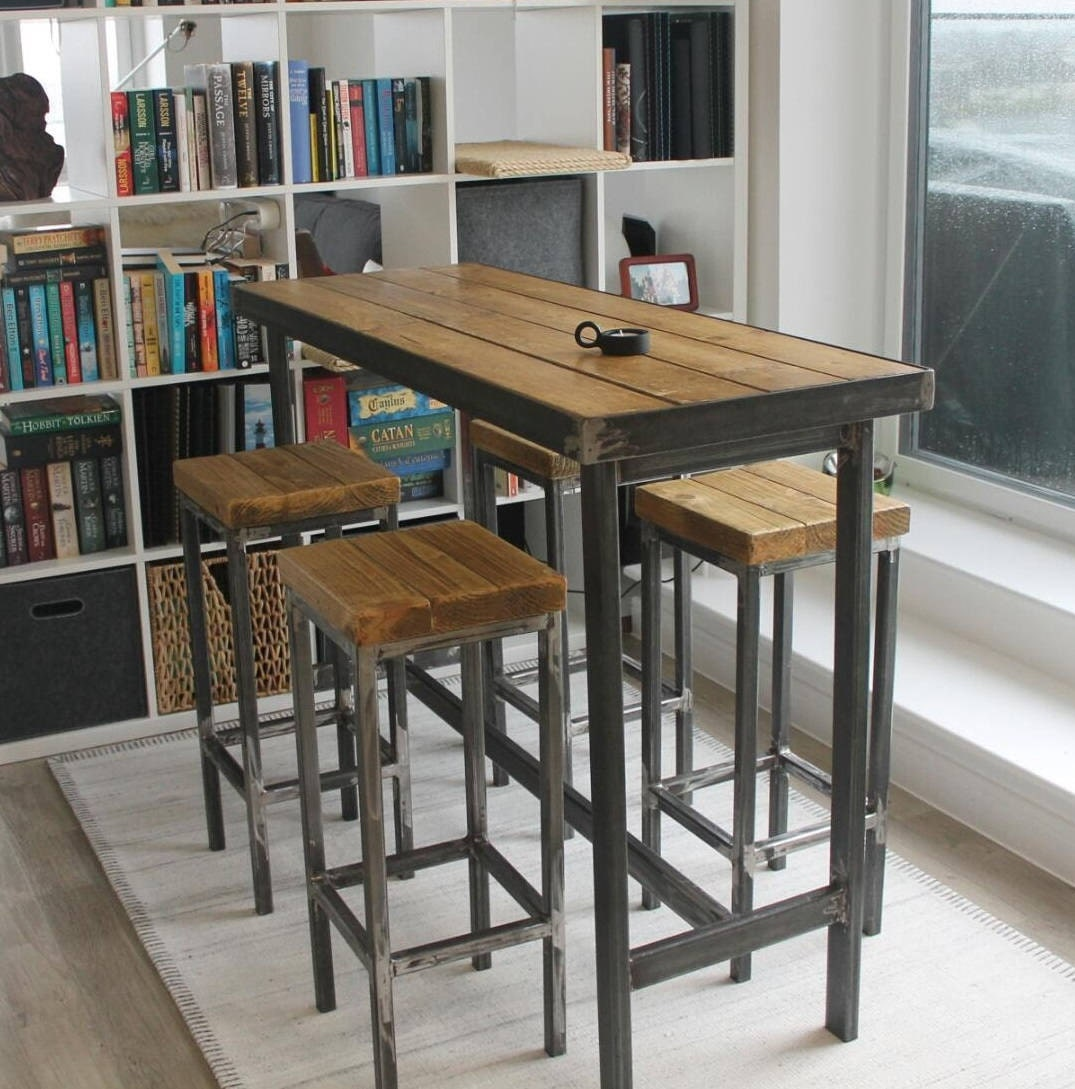 Hand Made Bespoke Modern Industrial Long Narrow Bar Table And