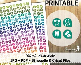 50% OFF SALE Icons Planner Printable Planner Stickers, Erin Condren Planner Stickers, Icons Planner Printable Stickers, Icons - CUT Files