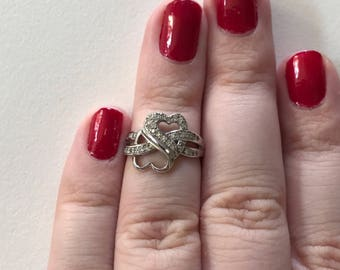 Vintage Double Heart Filigree White Cubic Zirconia Paved Sterling Silver Ring