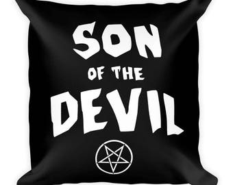 Son of the Devil Square Pillow Tumblr Hipster Grunge Aesthetic Goth Rad Luciferianism Gothic Satanism 666 Home