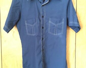 JC Penny Short Sleeve blue button down collar shirt 1970s