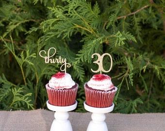 30 Cupcake toppers birthday, thirty cupcake toppers, 30th birthday decorations, 30th birthday party, birthday decorations, party supplies