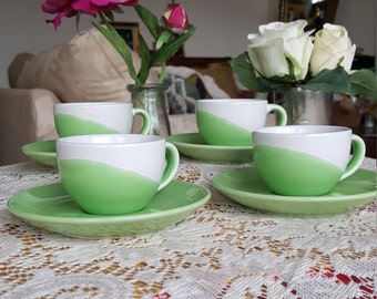 Circle, Coffee Bar Espresso Cups and Saucers, Two Ounce, Set of Four, Gorgeous Green and White, Demitasse Tea or Coffee set