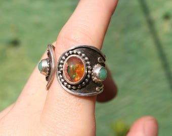 Mexican fire opal and chrysoprase ring, sterling silver opal ring, adjustable ring, size 9 genuine opal ring, october birthstone