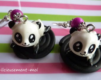 Sterling silver earrings 925 kawaii panda resin on a roll of liquorice of polymer clay