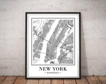 New York City Map Print New York Map Print Printable Map NY Map Art Print Manhattan Map Poster DIGITAL Print NYC Map Print Map Wall Art