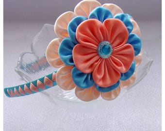 Headband with blue and orange kanzashi flower/Satin Kanzashi Tiara/Hair Accessory for little girls/Satin flower hair band