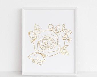 Printable wall art, Wall art prints, minimalist art print, Chic, Gold, Rose art print, elegant, nordic, scandinavian, farmhouse decor, bloom