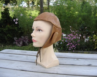 Bonnet cuir aviateur motard. Vintage. France