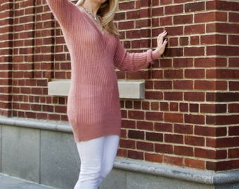 Oversized V neck sweater, long sleeve sweater, kid mohair sweater, blush womens sweater, hand knit sweater, ready to ship