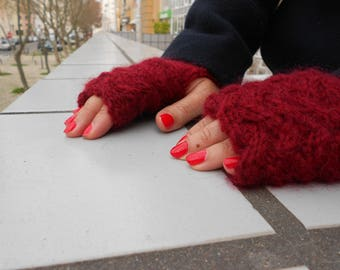 Deep red fingerless mittens, Hand knit mittens, Winter gloves, cable knit hat