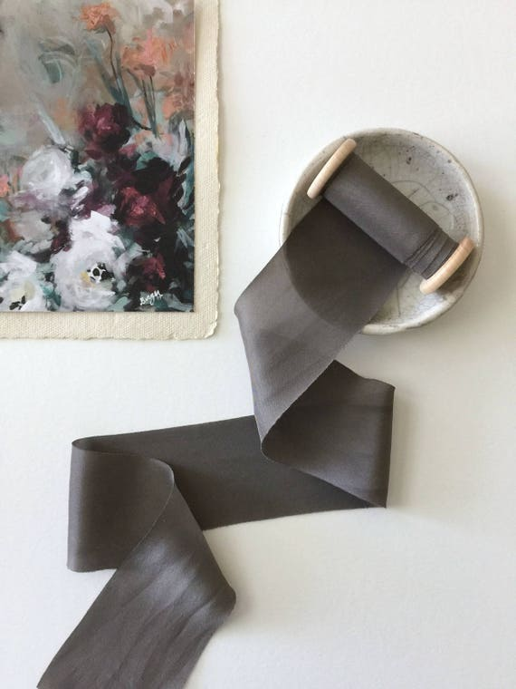 "OBSIDIAN GRAY Plant Dyed Silk Ribbon - natural hand dyed for bridal bouquet, invitations, styling - (2.25"" x 2.5 yards)"