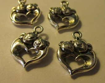 Antique Silver Tone Finish Heart Charm with Two Piggies, 13mm, Set of 4