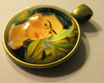 Bronze Glass Dome Pendant of Frida Kahlo with Parrot, 1""