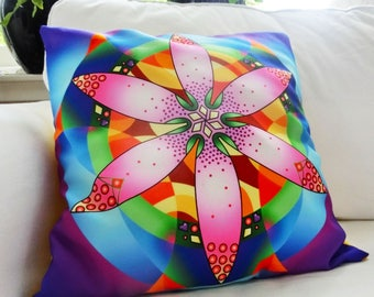 "Cushion with unique print in pink, purple and blue, for both indoors and outdoors. 45x45cm (18x18"")"