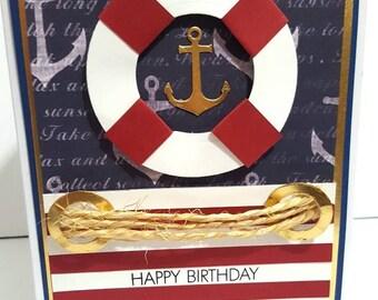 Nautical Birthday Card, Handmade Greeting Card, Anchor, Custom Card