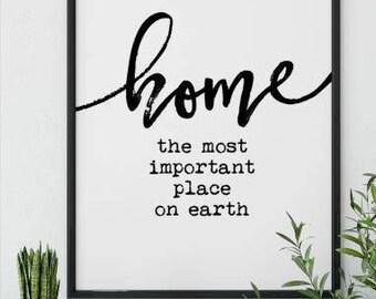 Home Wood Sign - Farmhouse Style - Modern Decor - Wall Decor - Wedding Gift - Housewarming
