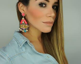 Pow Earrings, SuperHero Earrings, Comic Earrings,Patch Earrings, Pow Patches Earrings, Girl Power Jewelry,Statement Earrings,Dangle Earrings