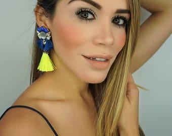 Blue Earrings, Colorful Earrings,Fringe Earrings,Bridal Jewelry,Threader Earrings,Wedding Earrings, Tassel Earrings,Rhinestone Earrings,Gift