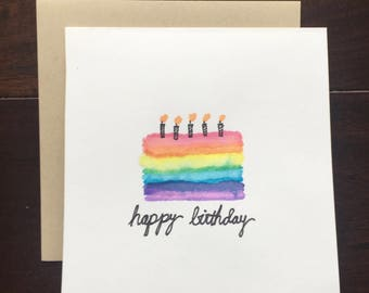 Hand Painted Happy Birthday Card