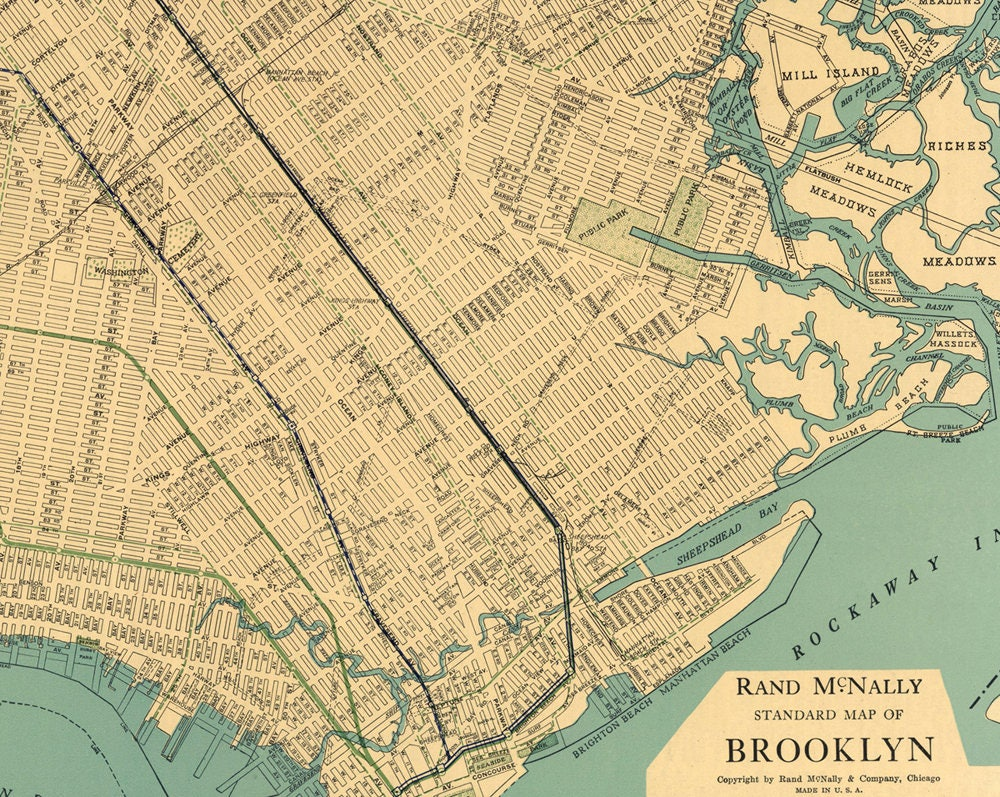 Brooklyn Map PrintableVintage New York MapAntique Map - Brooklyn on the us map