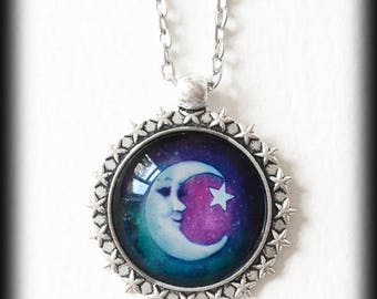 Moon and Stars Necklace, Glass Cameo Crescent Moon Pendant, Celestial Galaxy Necklace, Pagan Wiccan Jewelry, Handmade Jewelry, Boho Gift