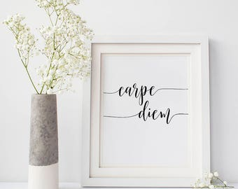 Best selling quotes, Handwriting prints, Famous movie quotes, Home office artwork, 'Carpe Diem' printable, DIGITAL DOWNLOAD