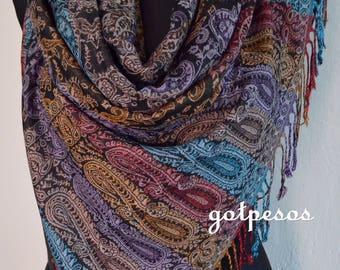 Beautiful multicolor Black Pashmina Scarf, Scarf for Women, Black Paisley Pashmina Shawl