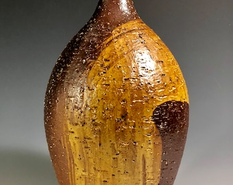 Wood fired stoneware vase with slip