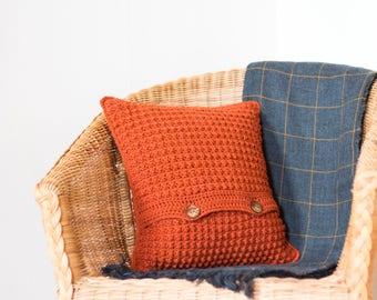 Burnt Orange Cushion Cover, Boho Cushion, Textured Cushion, Crochet Cushion, Throw Pillow, Sofa Pillow, Accent Pillow, Bright Cushion