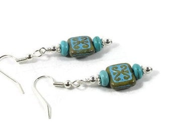 Turquoise and Czech Glass Earrings