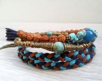 Stacking bracelet Set of three bracelets Rudraksha Turquoise bracelet Tassel bracelet Boho Stack bracelet set Blue Brown bracelet Bohemian