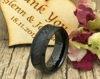 8mm  Carbon Fiber Ring, Personalize Engrave Black Plated Tungsten Ring, Black Wedding Band, Tungsten Wedding Ring,Comfort Fit TCR194