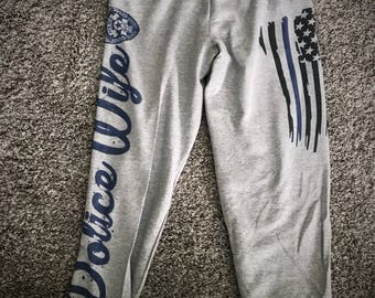 Police Wife Adult Sweat Pants; Police Support Thin Blue Line Fleece Sweat Pants