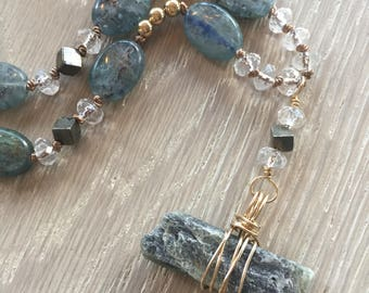 Kyanite Wire Wrapped Pendant Necklace, Hand Knotted Beaded Necklace, Kyanite Gemstones, Crystal Quartz Beads, Pyrite,  Gold Filled Chain