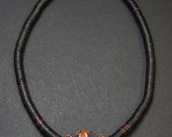Ethnic Tribal Boho Java Glass Bead Necklace, Free Shipping