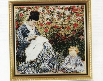 The Fine Arts Heritage Society ** Madame Monet and Child by Claude Monet ** charted pattern for Cross Stitch or Needlepoint