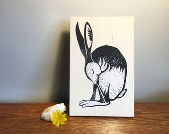 Limited Edition Screenprinted Wooden Panel : Hare
