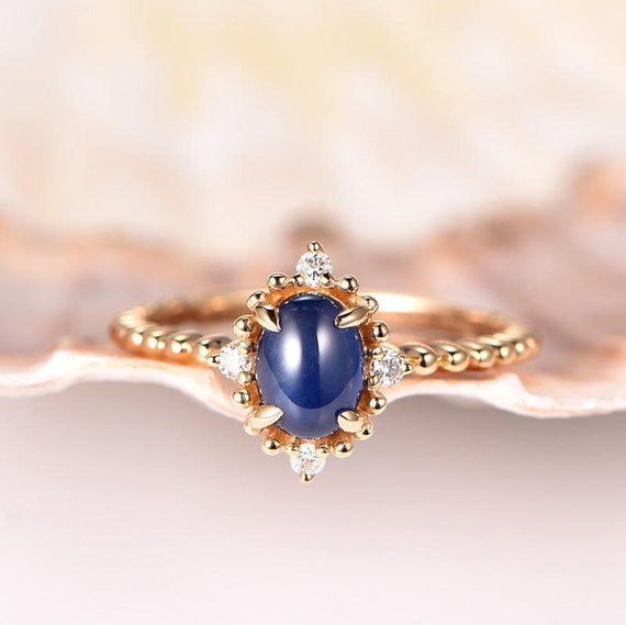 Blue Sapphire Ring Twist Wedding Band Floral Diamond Halo14k Yellow Gold Sapphire Engagement Ring Bridal Promise Ring Anniversary ring