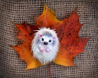 Ivory hedgehog. OOAK Handmade Fantasy Creature art doll.