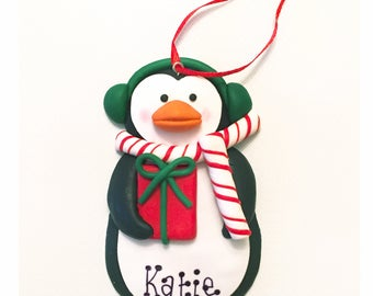 Personalised penquin christmas decoration