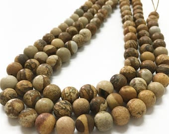 10mm Matte Picture Jasper Beads, Round Gemstone Beads