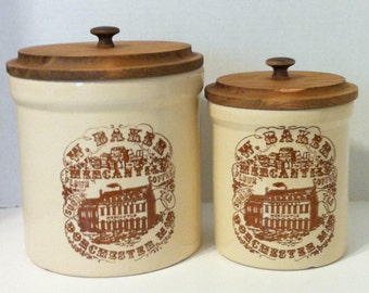 Vintage Pair of Kitchen Canisters Stoneware Crock Canisters With Lids One Half Gallon & 1 Gallon in Size Flour And Sugar Kitchen Storage