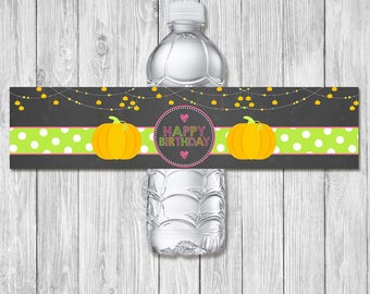 Pumpkin Happy Birthday Drink Label - Chalkboard - Halloween Birthday Party Water Bottle Wrap - Pumpkin Patch Birthday Party Favors - Pink