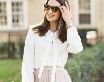 White women blouse | Tunic top | Blouse with a bow | Office blouse |  Long sleeve blouse| Tunic blouse| Pink top | Working top | Loose top |