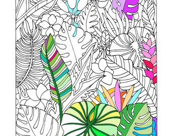 Printable Tropical Leaves Coloring Page